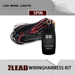 2 Lead Wiring Harness Kit For 2x Led Light Bar Pods Fuse Relay 12v 40a Yr