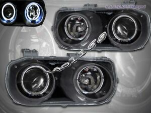 Fit For 94 95 96 97 Acura Integra Headlights Black Two Halo Jdm