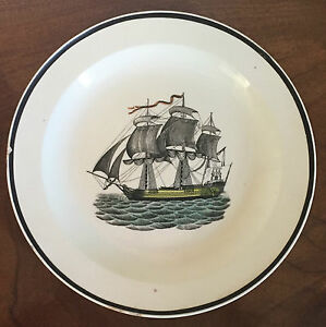 Antique Pearlware Creamware Dinner Plate Nautical Sailing Ship Wedgwood 19th C