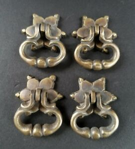 4 Brass Handle Pulls W Ornate Drop Ring Bolts And Rosette Backplate 1 1 4 H14