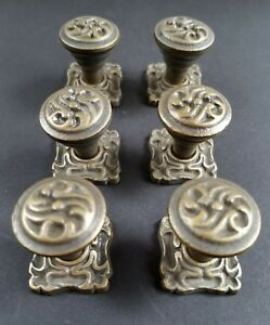 6 Ornate Art Nouveau Ornate Brass Knobs Pulls Hardware W 1 Back Plate K5