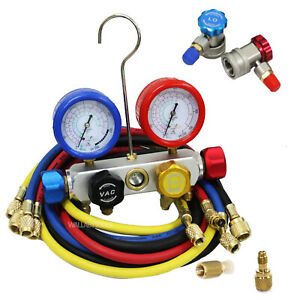 4 Way Manifold 4 valve Gauge Hose Set R410 R22 R134a Professional Ac hvac New