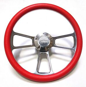 Red Steering Wheel 14 Billet Muscle Style Wheel For Ididit Flaming River Col