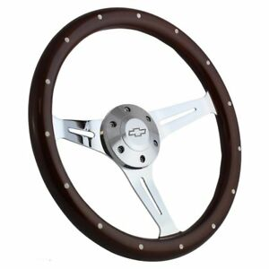 Steering Wheel Mahogany Chrome For Hot Rod Street Rod Rat Rod Truck Chevy