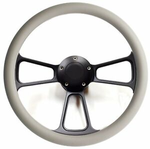 Hot Rod Street Rod Rat Rod Truck Steering Wheel Gray And Black Pbk Billet