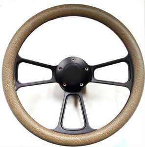 Ford Hot Rod Street Rod Steering Wheel Tan Snakeskin Black Billet Gm Column