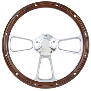 1970 1977 Ford F100 F150 F250 F350 Bronco Wood And Billet Steering Wheel Kit