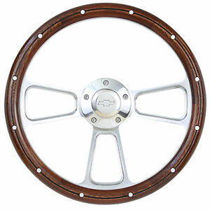 1974 1994 Chevy Cheyenne Scottsdale Silverado Wood Steering Wheel Full Kit