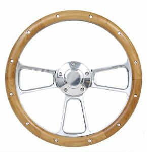 1970 1977 Ford Truck F100 F150 F250 Real Alder Wood Billet Steering Wheel Kit