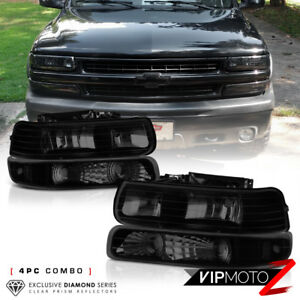 1999 2002 Chevy Silverado 2000 2006 Suburban Tahoe Dark Smoke Headlights Lamps