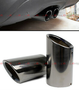 Titanium Black Chrome Slip On Steel Muffler Exhaust Tip Finisher For 08 15 Vw Cc