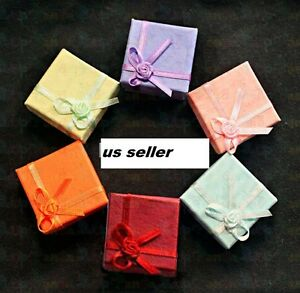 Wholesale 72 Pcs Jewelry Paper Ring Earring Color Gift Box Case