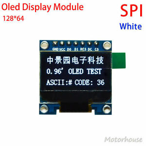 White 3 3v 5v 0 96 Spi Serial 128x64 Oled Lcd Display Screen Module For Arduino