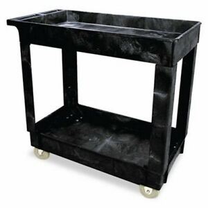 Rubbermaid 9t66 Service utility Cart With 2 Shelves Black rcp 9t66 Bla
