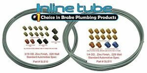 Complete 3 16 And 1 4 Inch Brake Line Kit 25 Ft Rolls With Fittings Zinc Steel
