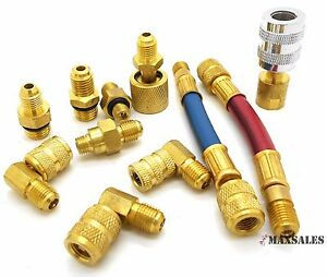 11 Pc Manifold Adapters A C Air Conditioning Refrigeration Charging Ac Hose Set