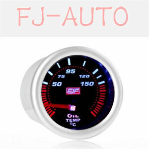 2 52mm 50 150 C Tinted Shell Car Smoke Oil Temperature Gauges Meters Silver