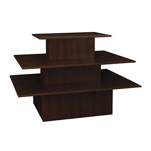 3 tier Rectangular Merchandiser Display Table Retail Fixture Choco Knockdown New