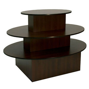3 tier Oval Merchandiser Display Table Retail Clothing Stand Choco Knockdown New