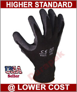 48 Pairs Polyester Work Gloves Black Latex Coating S m l xl Industrial Warehouse