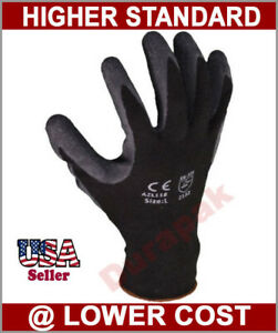 36 Pairs Polyester Work Gloves Black Latex Coating S m l xl Industrial Warehouse
