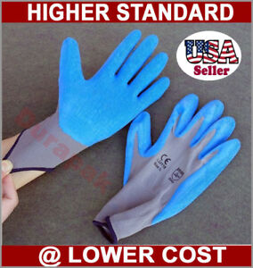 48 Pairs Nylon Work Gloves W Blue Latex Palm Finger Coating S M L Xl Sizes