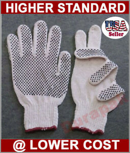 240 Pairs Cotton Poly Work Gloves Lg Extra Large W Pvc Dot Extra Grip White