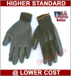 120 Pair Polyester Work Gloves Black Latex Coating S m l xl Industrial Warehouse
