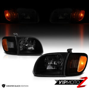 For 00 04 Toyota Tundra Sinister Black Headlights Signal Lamps Left Right Set