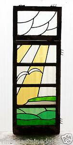 Large Tall Pair Of Antique Stained Glass Windows Sea Gull Flying Sun Rays 2988