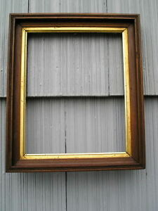 Antique Eastlake Victorian Deep Wood Gold Gilt Sight Edge Picture Frame 8 X 10