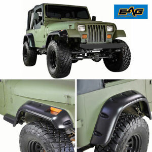 87 95 Jeep Wrangler Yj 6 Wide Black Pocket Rivet Style Fender Flares Set