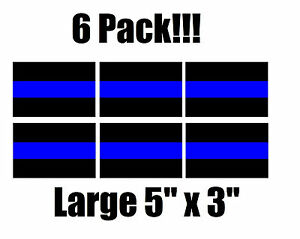 6 Pack Thin Blue Line Window Decal Stickers Police Law Enforcement Car Truck