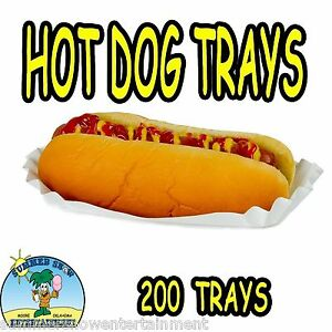 200 Hot Dog Tray Holders Paper Fluted Brand New Concession Supply 1