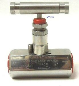 Needle Valve 1 4 Female Npt 10 000 Psi Stainless Metal Seats Nace
