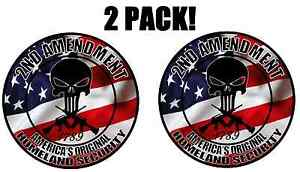 2 Pack 2nd Amendment Punisher Skull American Flag Decal Sticker Gun Truck