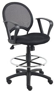 Boss Office Products Mesh Drafting Stool W Loop Arms B16217 New
