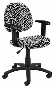 Boss Office Zebra Print Microfiber Deluxe Posture Chair W Adj Arms 17 5 x 16 5