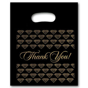New 500 plastic Black Jewelry Thank You Gift Bag med