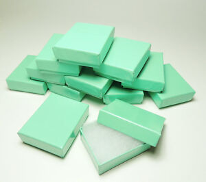 100 Teal Blue Cotton Filled Jewelry Bracelet Earring Chain Gift Boxes 3 1 4