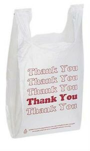 1000 Retail Plastic T shirt thank You Shopping Bags white
