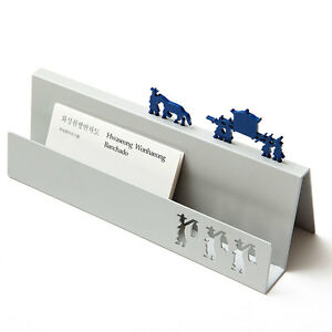 Business Name Card Holder Stand Silver Ethnic Korean Traditional Design Office