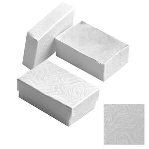 1000 White Swirl Cotton Filled Jewelry Craft Gift Boxes 2 5