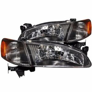 1998 2000 Toyota Corolla 2pc Crystal Headlights Black W Corner Lamps Pair L r