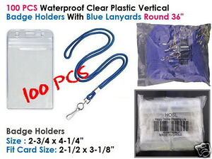 100pcs Clear Plastic Vertical Tag Badge Id Card Holder Set Lanyard Blue Rope 36