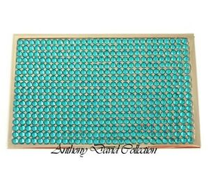 Anthony David Turquoise Crystal Silver Business Card Case W Swarovski Crystals