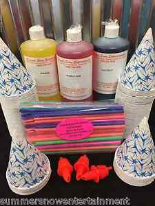 Snow Cone Syrup Kit 100 3 Flavors Cups Straws Pours The Best In The World