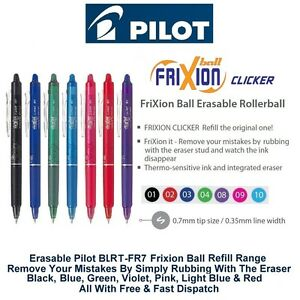 Pilot Frixion Clicker Retractable Rollerball Erasable Ink Pens 0 7mm Blrt fr7