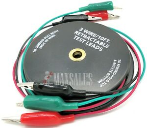 3 Wire 10 Retractable Test Leads 18 Gauge Alligator Clips In Reel