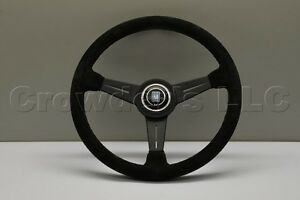Nardi Classic Steering Wheel 360mm Black Suede Leather With Black Spokes